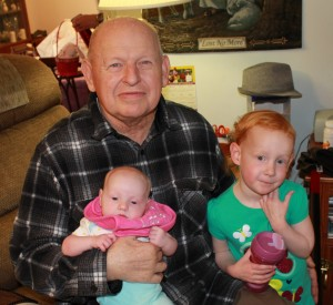 A last photo of my dad and my daughters taken that final Easter weekend